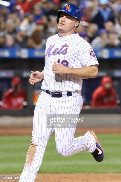 New York Mets Right field Jay Bruce scores on a New York Mets Infield TJ Rivera sacrifice fly to left during the fifth inning of the Interleague game...
