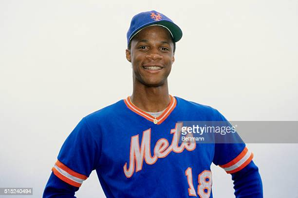 New York Mets rookie outfielder Darryl Strawberry smiles in uniform Later in his career he also played for the New York Yankees