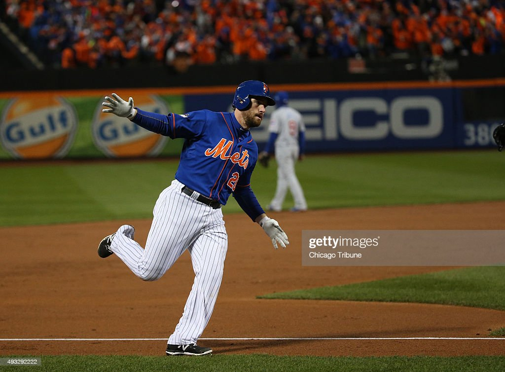 New York Mets second baseman Daniel Murphy hits a home runin the first inning during Game 2 of the National League Championship Series playoff Sunday...