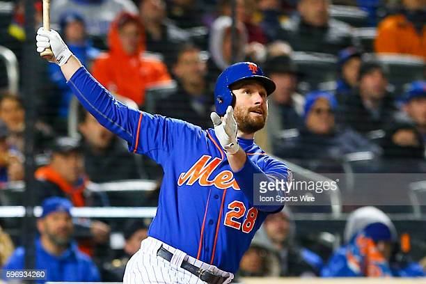 New York Mets second baseman Daniel Murphy hits a homeun during the first inning of Game 2 of the NLCS between the New York Mets and the Chicago Cubs...