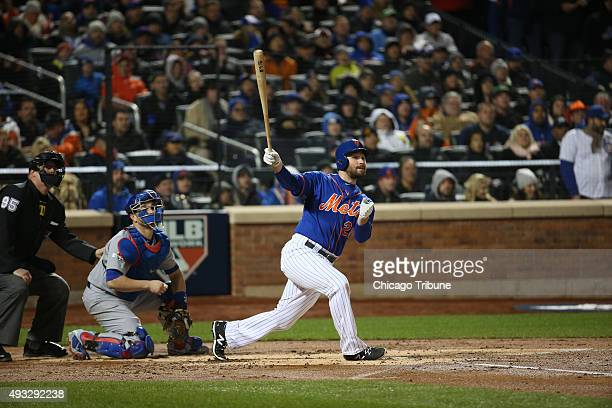 New York Mets second baseman Daniel Murphy watches his tworun home run in the first inning Game 2 of the National League Championship Series playoff...