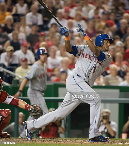 New York Mets second baseman Jordany Valdespin hits a threerun home run off Washington Nationals relief pitcher Tyler Clippard to take the lead...