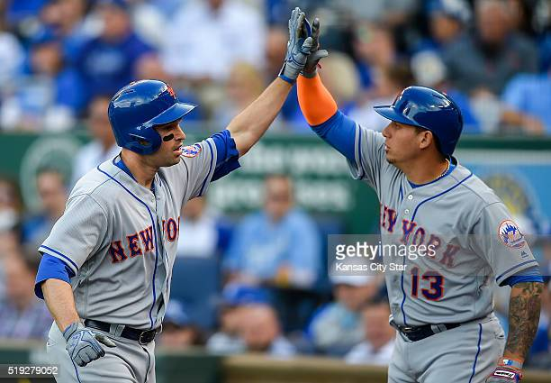 New York Mets second baseman Neil Walker celebrated his tworun home run with teammate New York Mets shortstop Asdrubal Cabrera during the fourth...