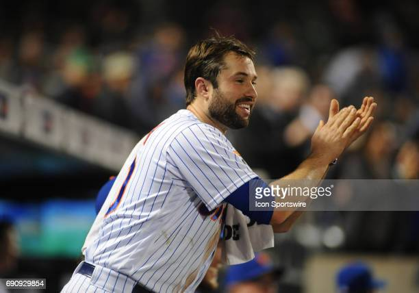 New York Mets Second Baseman Neil Walker celebrates during the game between New York Mets and the Milwaukee Brewers on May 30 2017 at Citi Field in...