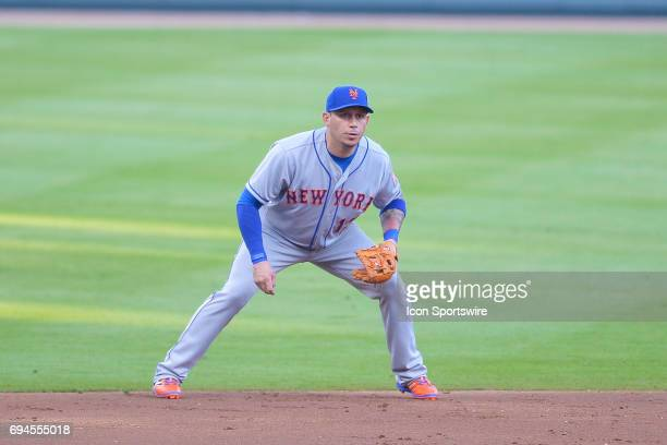New York Mets shortstop Asdrubal Cabrera gets set during a game between the Atlanta Braves and New York Mets on June 9 2017 at SunTrust Park in...
