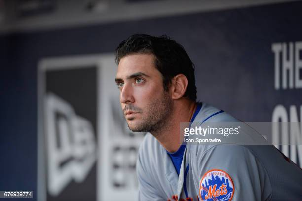 New York Mets starting pitcher Matt Harvey looks on from the dugout in the first inning during a game between the Atlanta Braves and New York Mets on...