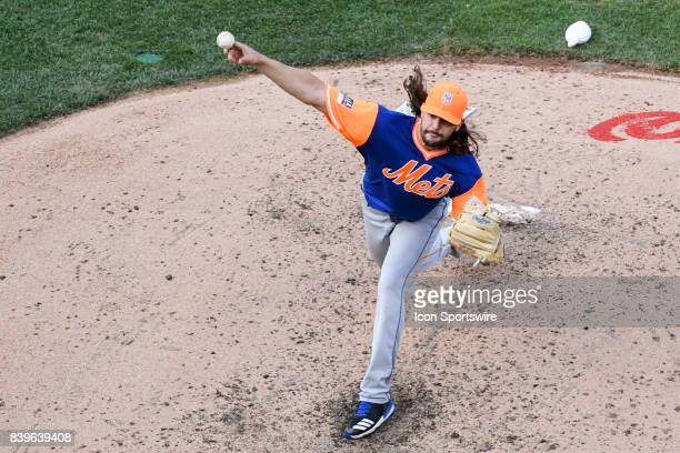 New York Mets starting pitcher Robert Gsellman pitches during an MLB game between the New York Mets and the Washington Nationals on August 26 at...