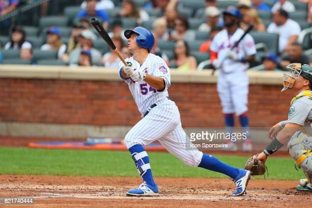 New York Mets third baseman TJ Rivera at bat during the Major League Baseball game between the New York Mets and the Oakland Athletics on July 23 at...