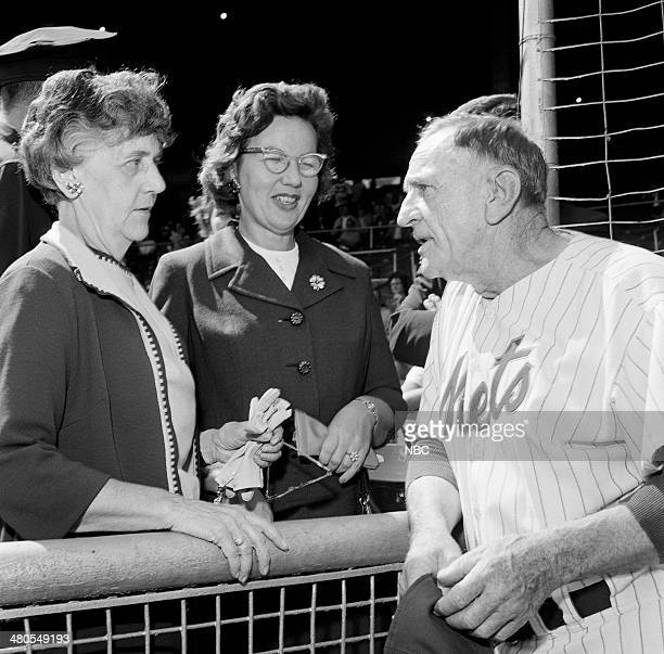 BASEBALL '1963 New York Mets vs San Francisco Giants' Pictured Mets Manager Casey Stengel with fans at the Polo Grounds in New York NY on September...