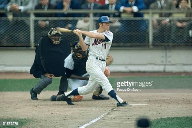 New York Mets' Wayne Garrett swings away against the Baltimore Orioles during the 1969 World Series at Shea Stadium in Flushing NY