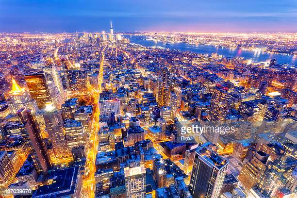 New York, Midtown Manhattan, Aerial View at Dusk