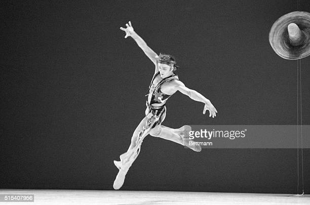 Mikhail Baryshnikov soars in Eliot Feld's Santa Fe Saga during dress rehearsal here at Plymouth theater 4/14 The ballet will premiere at a gala...