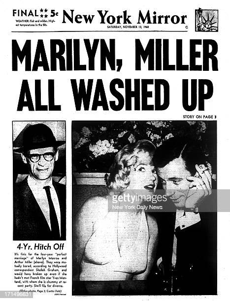 New York Mirror front page November 12 1960 Headline MARILYN MILLER ALL WASHED UP 4Yr Hitch Off It's finis for the fouryear 'perfect marriage' of...