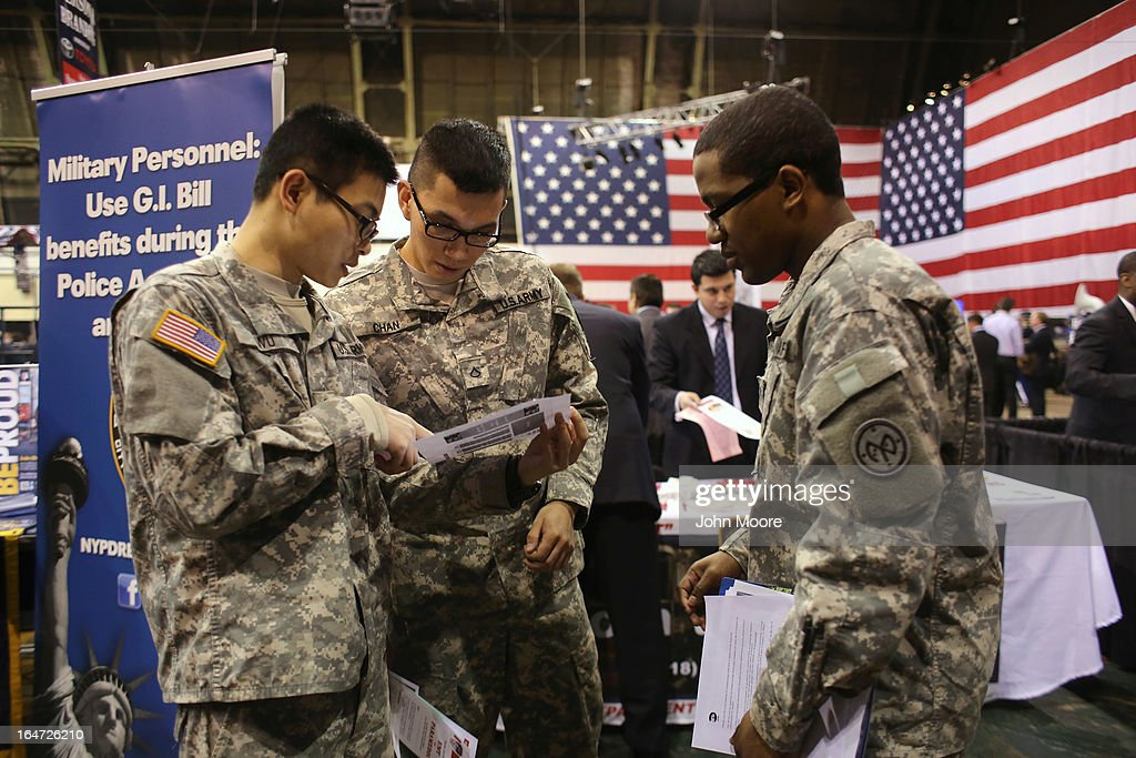 New York national guardsmen prepare to meet potential employers at the Hiring Our Heroes job fair held on March 27, 2013 in New York City. Hundreds of veterans and their spouses turned out to meet more than 100 employers participating at the second annual event, hosted by the U.S. Chamber of Commerce National Chamber Foundation. Lead sponsors were Capital One Financial Corporation and Toyota.