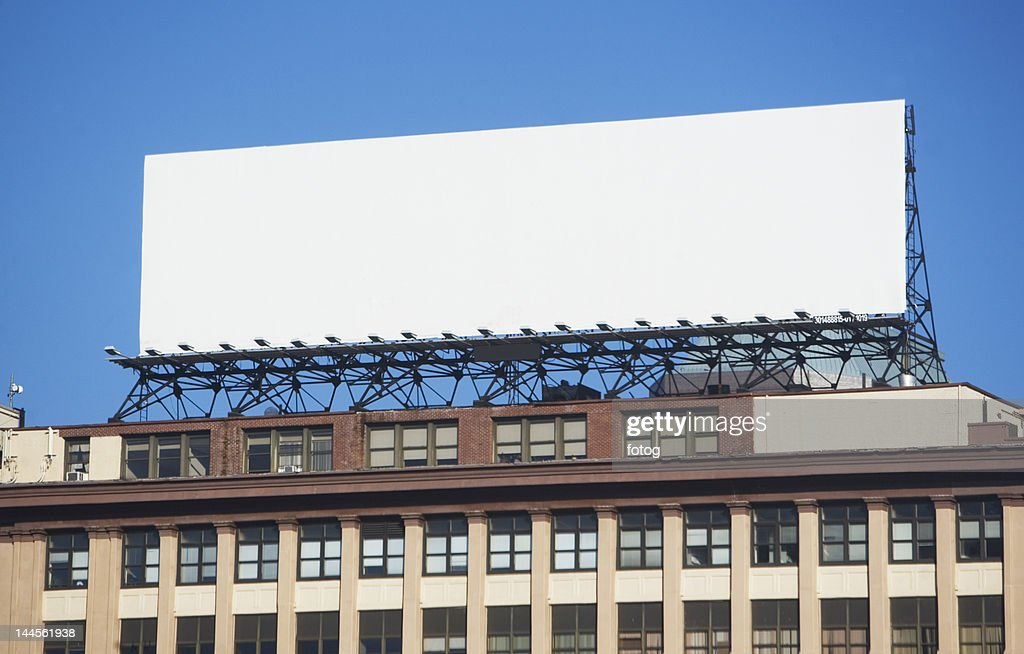 USA, New York, New York City, Blank banner on top of building