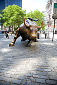 New York, New York City, Bull statue at Wall St