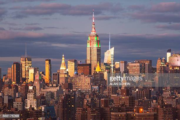 USA, New York, New York City, Cityscape at sunset