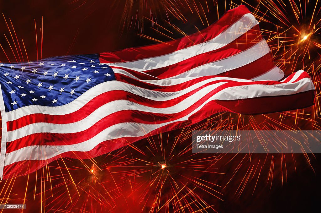 USA, New York, New York City, Fourth of july fireworks with American flag