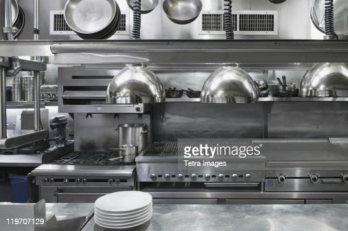 Usa new york city interior of commercial kitchen