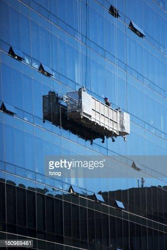 Stock Photo : USA, New York, New York City, Manhattan, Window cleaners ...