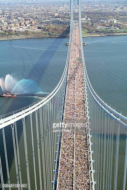 USA, New York, New York City Marathon crossing Verrazano  Bridge