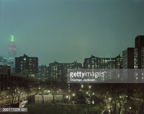 USA, New York, New York City, offices and Empire State Building, night : Stock Photo