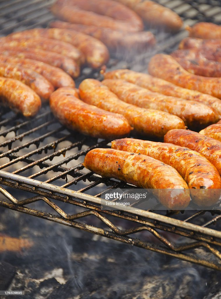 USA, New York, New York City, Sausages on barbeque : Stock Photo