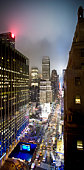 USA, New York, New York City, Seventh Avenue at 31st Street with Times Square, elevated view