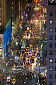 USA, New York, New York City, Seventh Avenue at 33rd Street with Times Square, elevated view