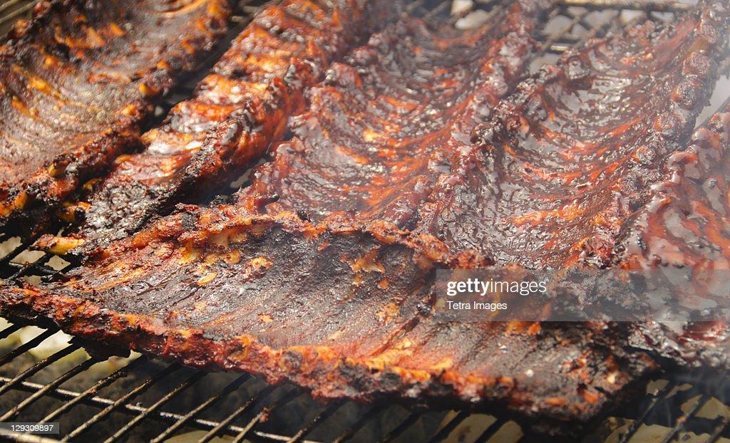 USA, New York, New York City, Spareribs on barbeque : Stock Photo