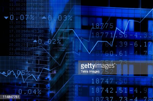 USA, New York, New York City, stock quotes reflecting on window