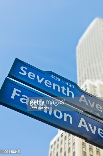 USA, New York, New York City, Street sign for Fashion Avenue and Seventh Avenue in Manhattan