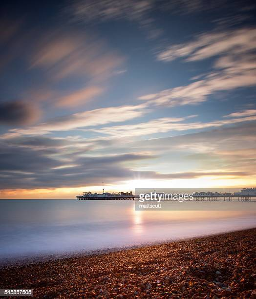 USA, New York, New York City, View of Brighton Beach during sunset