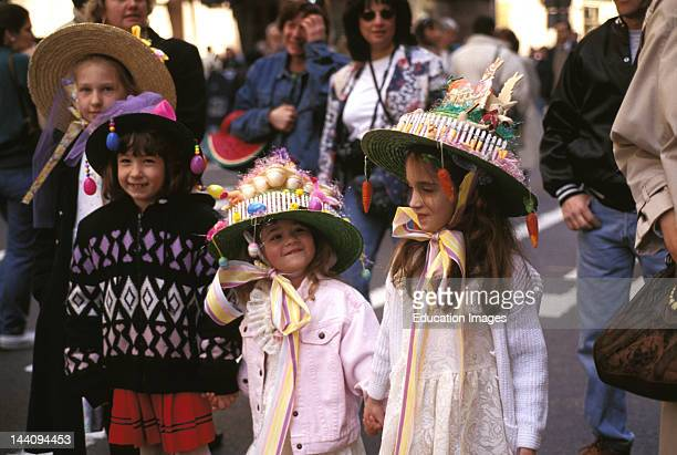 New York New York Easter Parade Group Of Young Girls Wearing Colorful Hats
