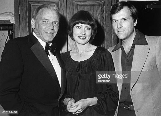 Frank Sinatra greets Russian actress Victoria Fyodorova and her American husband Fred Puoy at closing performance May 29 of his sellout twoweek...