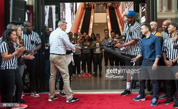 New York Nicks Center Joakim Noah and Foot Locker CEO Jake Jacobs attend the grand opening ceremony for Foot Locker And SIX02's Flagship stores at...