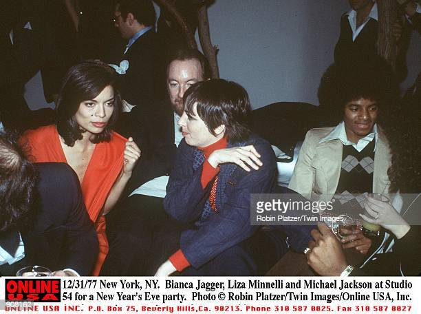 New York NY Bianca Jagger Liza Minnelli and Michael Jackson at Studio 54 for a New Year's Eve party