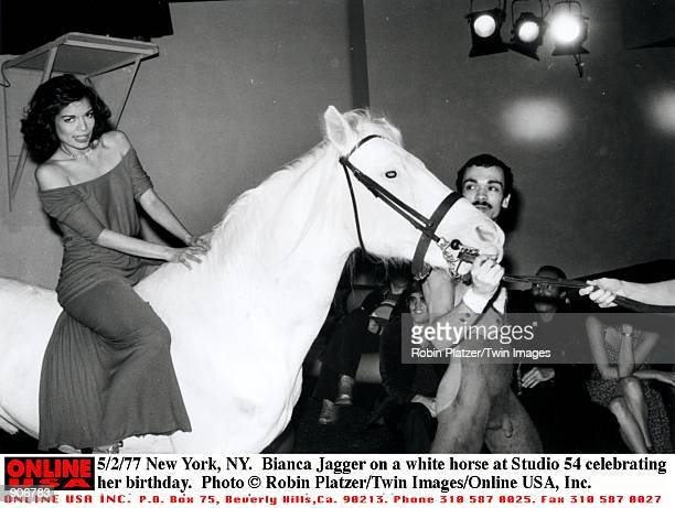 New York NY Bianca Jagger on a white horse at Studio 54 celebrating her birthday