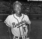 11/14/57 New York NY Clutchhitting Hank Aaron of the Milwaukee Braves shown here in an August 1954 photo from files was voted November 14th as the...