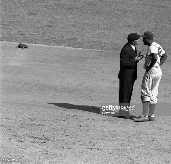 New York NY Jackie Robinson Dodgers second baseman doesn't think he was out in the sixth inning when the Giants picked him off second and he didn't...