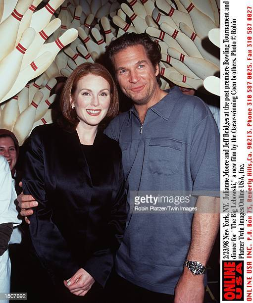 New York NY Julianne Moore and Jeff Bridges at the post premiere Bowling Tournament and dinner for 'The Big Lebowski' the new film from the...