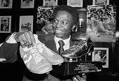 2/27/1978 New York NY St Louis Cardinals' Lou Brock the greatest basestealer in the history of modern baseball stops here enroute to spring training...