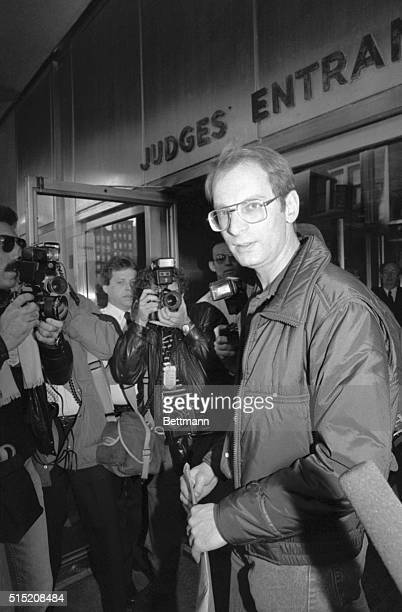 3/23/1987 New York NY Subway gunman Bernhard Goetz arrives for court 3/23 for the start of jury selection in his trial for shooting four teenagers...