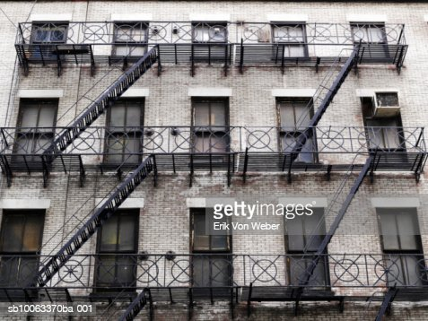 usa new york old tenement style apartment building with
