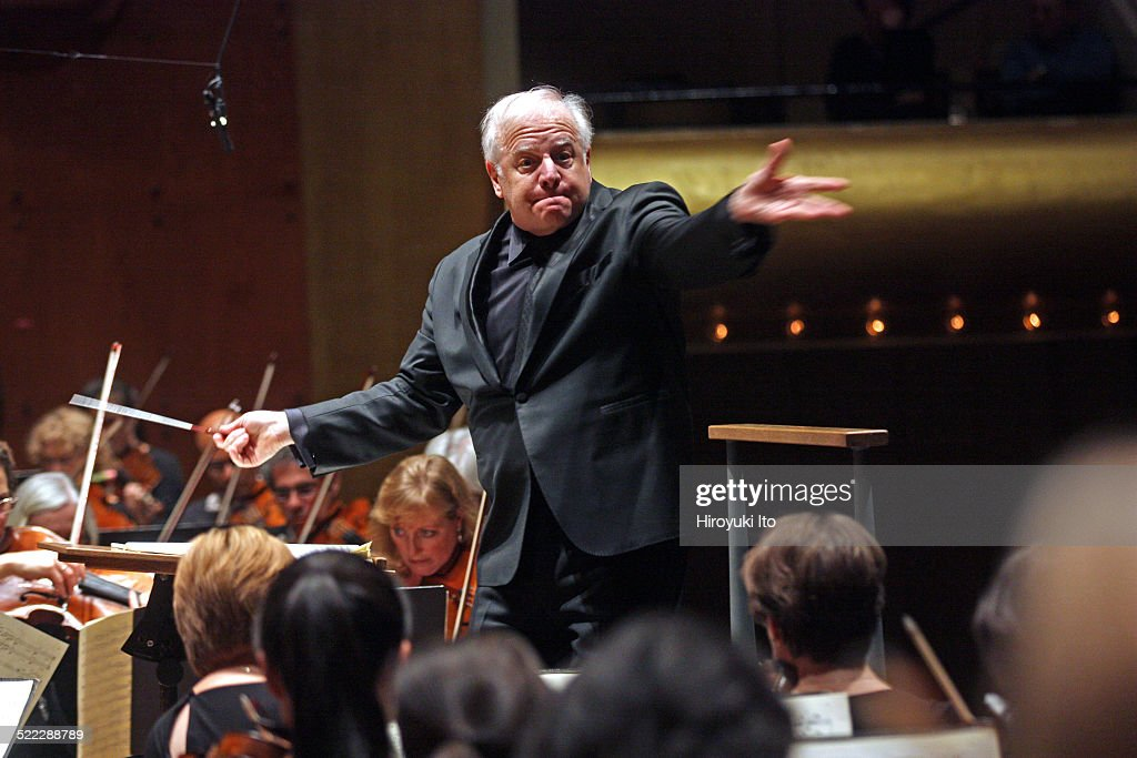 New York Philharmonic performing at Avery Fisher Hall on Thursday night, October 30, 2014.This image:<a gi-track='captionPersonalityLinkClicked' href=/galleries/search?phrase=Leonard+Slatkin&family=editorial&specificpeople=226759 ng-click='$event.stopPropagation()'>Leonard Slatkin</a> leading the New York Philharmonic in Ravel's 'Gaspard of the Night' and 'Bolero.'
