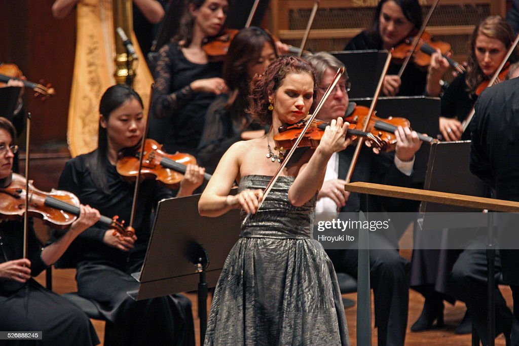 New York Philharmonic performing at Avery Fisher Hall on Wednesday night November 26 2014This imageHilary Hahn performing Korngold's 'Concerto in D...