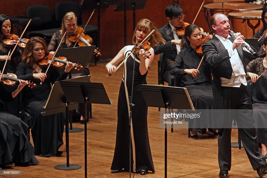 New York Philharmonic performing at Avery Fisher Hall on Wednesday night April 8 2015This imageLisa Batiashvili left and Franois Leleux performing...