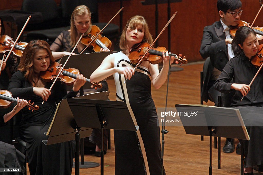New York Philharmonic performing at Avery Fisher Hall on Wednesday night April 8 2015This imageLisa Batiashvili performing BachÕs 'Concerto for Oboe...