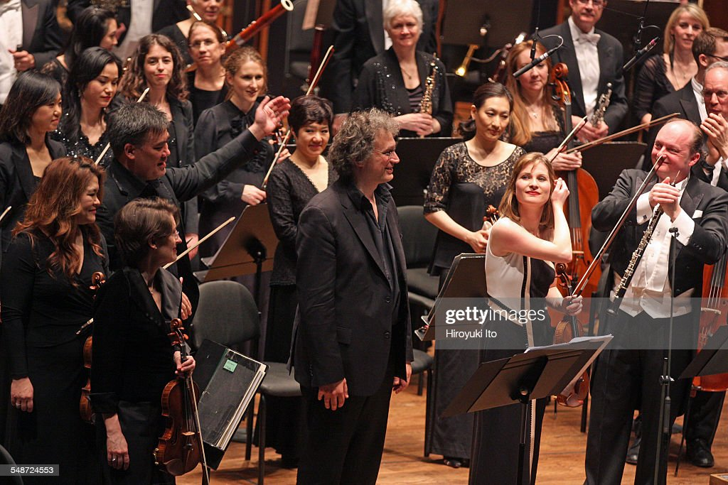 New York Philharmonic performing at Avery Fisher Hall on Wednesday night April 8 2015This imageFrom left Alan Gilbert Thierry Escaich Lisa...