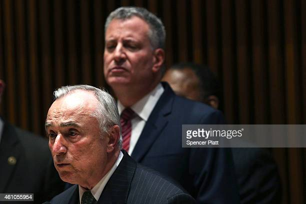 New York Police Commissioner Bill Bratton speaks at a news conference at police headquarters to announce new figures on decreasing crime and violence...